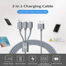 Cáp sạc Siêu Bền MarsCable Lightning, Micro, Type C - 3in1 Iphone , ipad, Samsung (1.2m, 2A Quick Charge, Silver)