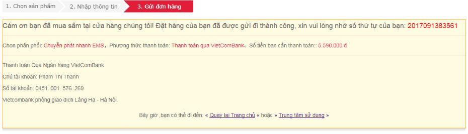 Kết thúc mua hàng online trên máy tính đất Việt ( datvietcomputer)