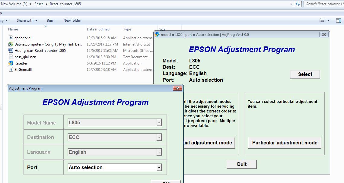 Hướng dẫn Reset Epson L805, Download Phần mềm reset tràn bộ