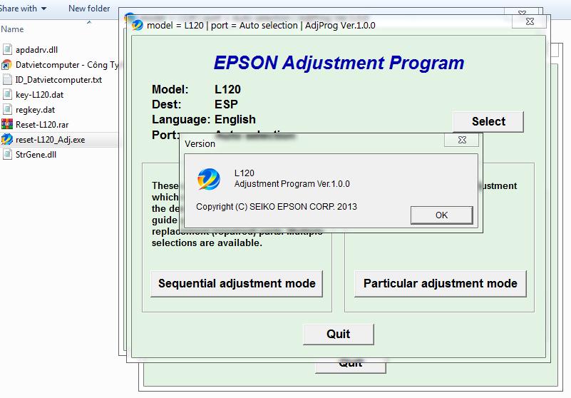 Hướng dẫn Reset máy in Epson L120 lỗi nháy 2 đèn đỏ liên tục