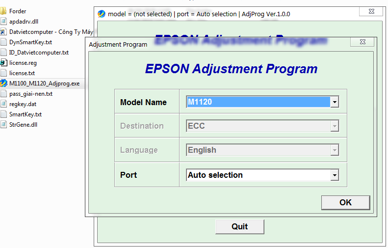 Guide how to reset Epson M1100-M1120 Printer